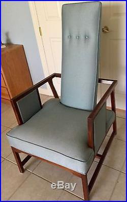 1950'S FRANK LLOYD WRIGHT HERITAGE-HENREDON ART DECO CHAIR/Teak Frame/Blue Silk