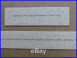 1962 Frank Lloyd Wright Foundation Print Plate 141 Play Resort Sports Club 1947