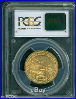 1982 FRANK LLOYD WRIGHT COMMEMORATIVE AMERICAN ARTS 1/2 Oz. GOLD MEDAL PCGS MS66
