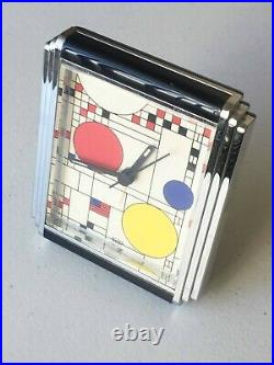 1998 Frank Lloyd Wright Coonley Playhouse Windows Desk Clock 4.5 x 3.75