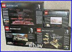 4 Frank Lloyd Wright Lego Architecture Sets withBox Robie Fallingwater Imperial +1