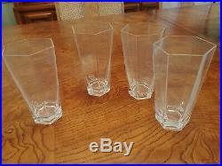 4 Tiffany and Co Highball glasses. Frank Lloyd Wright. Etched Texaco symbl, 1990
