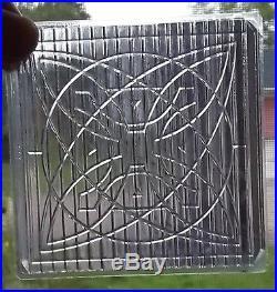 6 Amethyst Luxfer Frank Lloyd Wright Fancy Flower Pattern Glass Tiles
