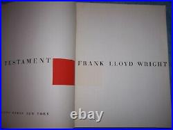 A TESTAMENT by Frank Lloyd Wright/1st ed/HC/Art & Photography/Architecture