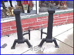 Antique Arts & Crafts mission Frank Lloyd Wright fireplace Andirons