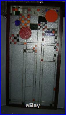 Antique Pair Of Abstract Frank Lloyd Wright Style Leaded Stained Glass Windows
