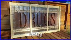 Antique Stained Glass Window Drugstore Sign DRUGS Frank Lloyd Wright Flower Tile