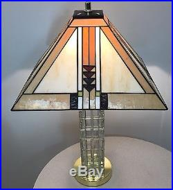 Antique Vintage Retro Stained Glass Crystal Brutalist Frank Lloyd Wright Era