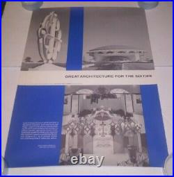 Architectural Forum Poster 1962 Frank Lloyd Wright MCM Modern Architecture Rare
