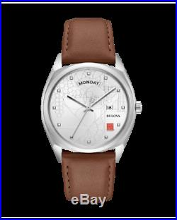BRAND NEW Bulova Men's Frank Lloyd Wright Silver Dial Brown Watch 96C138