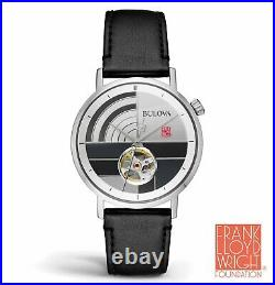 BRAND NEW Bulova Mens Frank Lloyd Wright Multi-color Dial Leather Watch 96A248