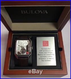 BULOVA Frank Lloyd Wright Limited Ed. 150th Anniversary Numbered WATCH 96A197