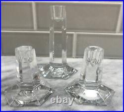 Beautiful Set Of 3 Frank Lloyd Wright Tiffany & Co Signed Crystal Candlesticks