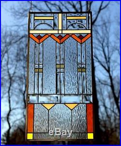Beveled clear window panel FRANK LLOYD WRIGHT TREE OF LIFE 17 X 34