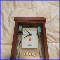 Bulova Frank Lloyd Wright Art Glass Mantel Clock, 16, Walnut Finish