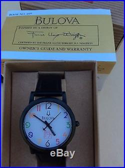 Bulova Frank Lloyd Wright Leather Strap Watch, 98A103