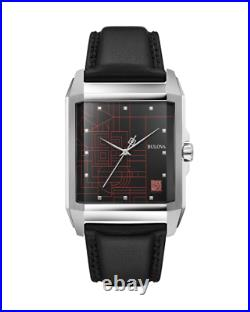Bulova Frank Lloyd Wright Stainless Steel Black Leather Watch 96A223