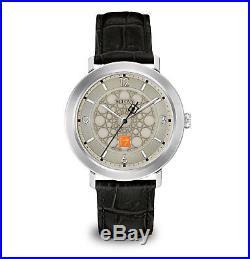 Bulova Men's Frank Lloyd Wright Silver T. Case Black Leather Strap Watch 96A164