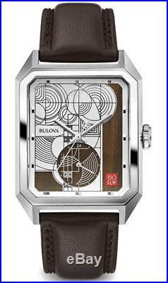 Bulova Men's Stainless Steel Frank Lloyd Wright Leather Strap Watch 96A197