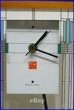 Bulova W. Willits Frank Lloyd Wright Art Glass Mantel Clock, 16, Walnut Finish