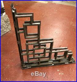 Custom Fabrication PAIR Frank Lloyd Wright, Art Deco Iron Shelf Bracket 18x18