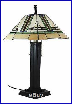Ebros Frank Lloyd Wright Mission Style Geometrical Pyramid Resin Lamp 28.5H