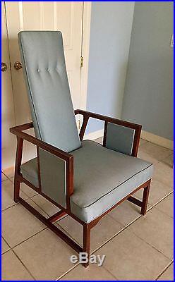 1950s Accent Chairs.Frank Lloyd Wright 1950s Modern Accent Chair Teak Frame Blue Silk