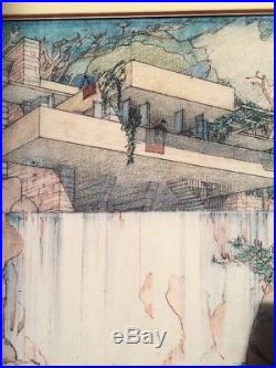 FRANK LLOYD WRIGHT Fallingwater, Mill Run Exhibition Print MOMA 1994 Framed