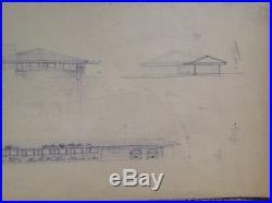 FRANK LLOYD WRIGHT PLAN Duey E. Wright 1958 Wausau Wisconsin Diazotype on paper