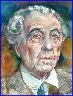 FRANK LLOYD WRIGHT portrait ORIGINAL watercolor painting ONE of a KIND