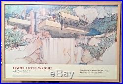 Framed Frank Lloyd Wright Poster Fallingwater MOMA Exhibit 1994 EUC