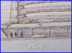 Frank Lloyd WRIGHT Lithograph SIGNED Edgar J. Kaufmann Garage PA withFRAME
