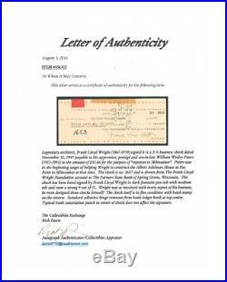 Frank Lloyd Wright Architect Autograph Check Clean Check/Signature COA