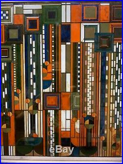 Frank Lloyd Wright Autumn Sumac Stained Glass 11.75 x 11 Signed