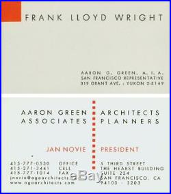 Frank Lloyd Wright Business Card Circa 1951 #99149