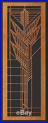 Frank Lloyd Wright COONLEY WINDOW C Design WALL HANGING Etched Wood 31x11