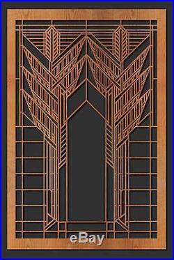 Frank Lloyd Wright DANA HOUSE SUMAC WINDOW Design WALL HANGING Etched Wood 31x11