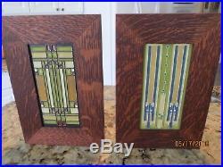 Frank Lloyd Wright Design Ceramic Tiles in Oak Frames. Prairie or Craftsmen