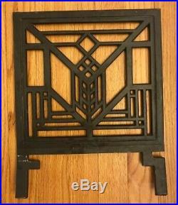 Frank Lloyd Wright Design Iron Magazine Rack Art Deco Dk Brown 13 1/2 H x 11 L