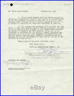 Frank Lloyd Wright Document Triple Signed 11/14/1952