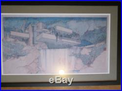 Frank Lloyd Wright Falling Waters Print Professionally Framed Double Matted