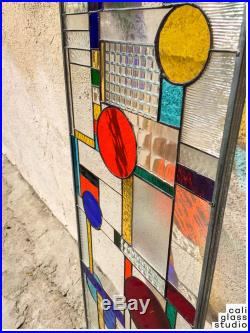 Frank Lloyd Wright Geometric Abstract Tiffany Stained Glass Window Panel 40 INCH