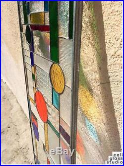 Frank Lloyd Wright Geometric Abstract Tiffany Style Stained Glass Window Panel 2