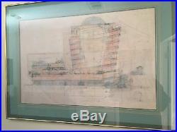 Frank Lloyd Wright Guggenheim Museum Blue Print Framed 38 x 28 Gorgeous RARE