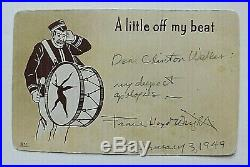 Frank Lloyd Wright Handwritten Letter On Postcard Signed Twice To Client Clinton