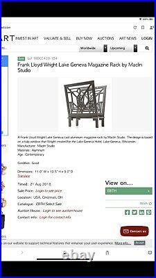 Frank Lloyd Wright Lake Geneva design magazine rack Mid Century Modern