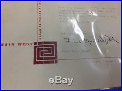 Frank Lloyd Wright Letter Signed March 7 1957 Coa Loa Jsa