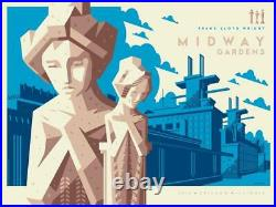Frank Lloyd Wright Midway Gardens BLUE Poster Screen Print 24x18 SIGNED Mondo
