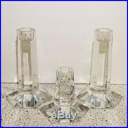 Frank Lloyd Wright Miller Rogaska Set Of 3 candlesticks Crystal Germany Signed