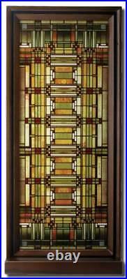 Frank Lloyd Wright OAK PARK HOME STUDIO SKYLIGHT Stained Art Glass Panel Display